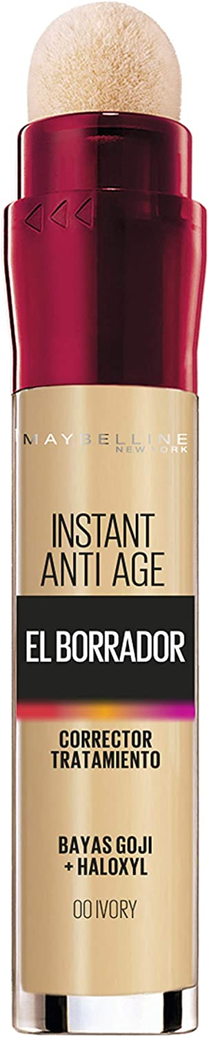 Maybelline New York, Corrector de Ojeras, Bolsas e Imperfecciones, Borrador Ojos, 00 Ivory, 6 ml