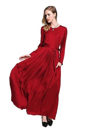 0081849d9de VOA Women's Red Scoop Neck Long Sleeve Silk Maxi Dress A6057 at Amazon  Women's Clothing store: