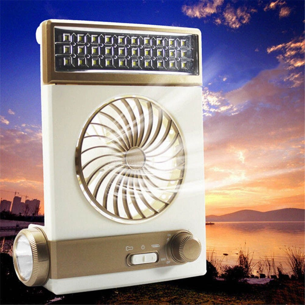 Toogoo Multi-function Portable Fan Home LED Table Lamp Outdoor Solar Flashlight golden by Toogoo