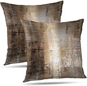 Alricc Taupe Throw Pillow Cover Pack of 2, Abstract Art Gallery Modern Decorative Cushion Cover for Bedroom Sofa Living Room(16 x 16 Inch,Taupe)
