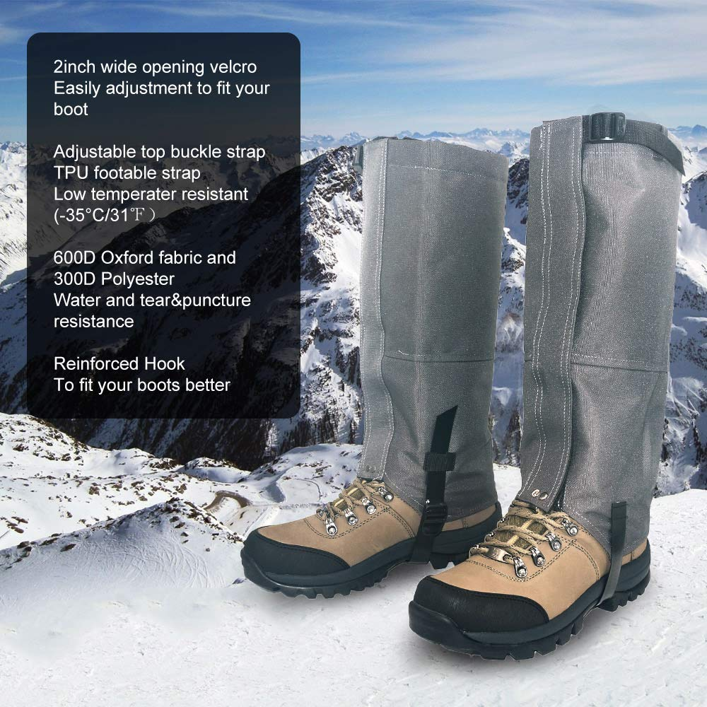 Leanking Leg Gaiters, Waterproof Snow Boot Gaiters 600D Anti-Tear Oxford Fabric Outdoor Waterproof Snow Leg Gaiters for Outdoor Hiking Walking Hunting Climbing Mountain (Gray, S) by Leanking (Image #5)