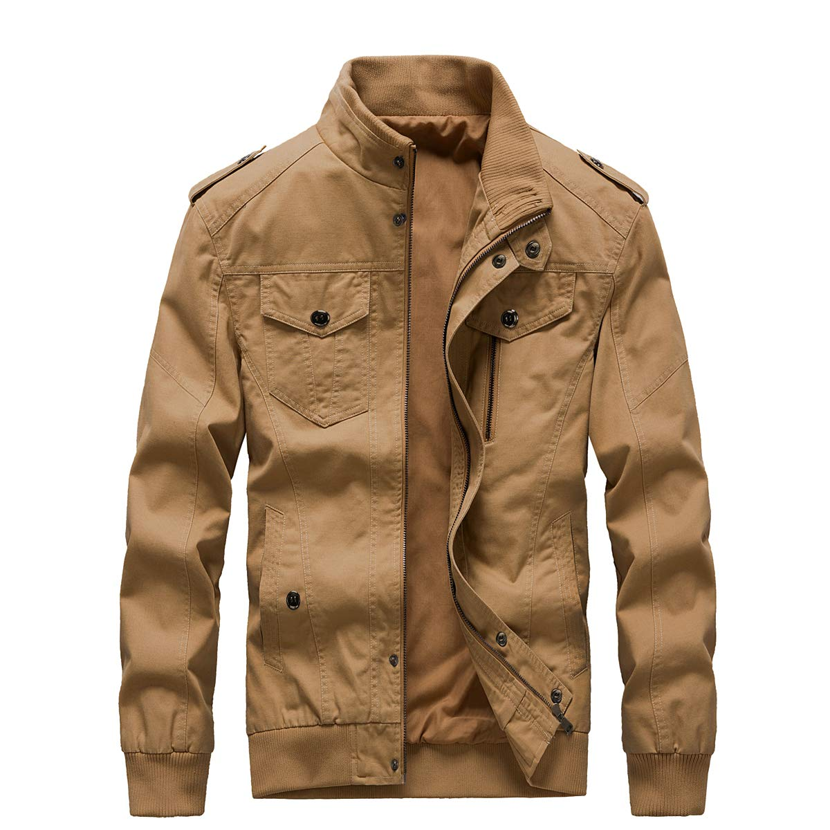 ZooYung Men's Casual Winter Cotton Military Jackets Outdoor Coat Windproof Windbreaker(GM-ZY811-Khaki-L) by ZooYung