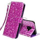 LK Galaxy S9 Case,[Wrist Strap] Luxury Glitter Sparkle PU Leather Wallet Protective Case Cover with Card Slots and Stand for Samsung Galaxy S9 (Purple Bling)