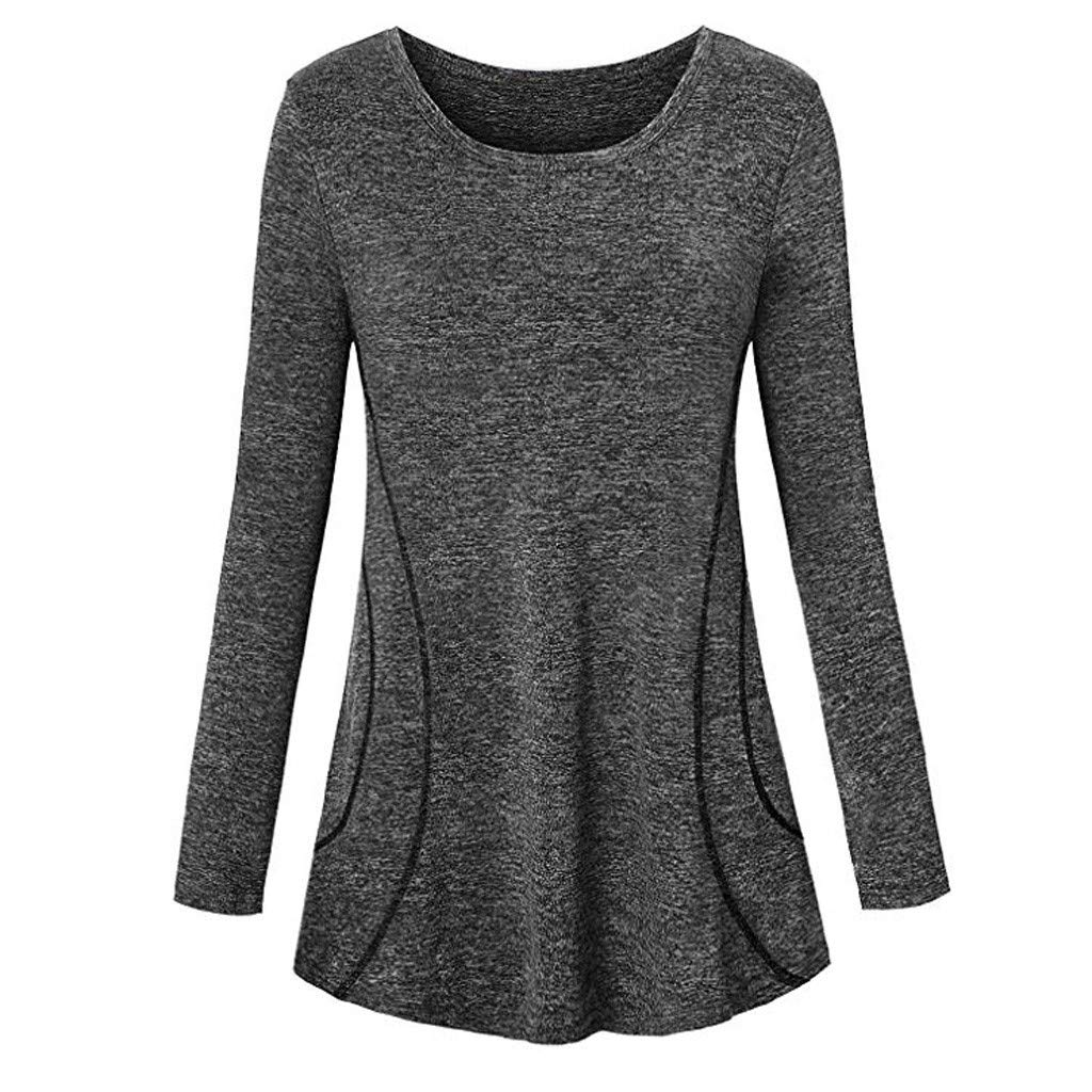 Sportswear Shirt Tee Top Blouse For Women, Sales ! Women Long Sleeve Sport Shirt Tee outdoor Sports Blouse Top Tunic(Deep Gray,M)