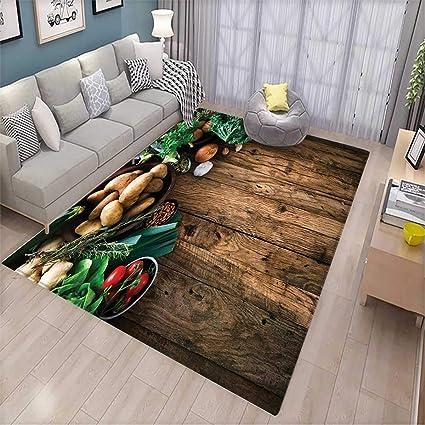 Amazon Com Harvest Girls Bedroom Rug Vegetables On Wooden Table