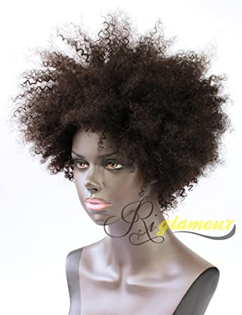 Riglamour Kinky Short Curly Human Hair Wigs for African American Real  Indian 100% Remy Afro 444d638d3