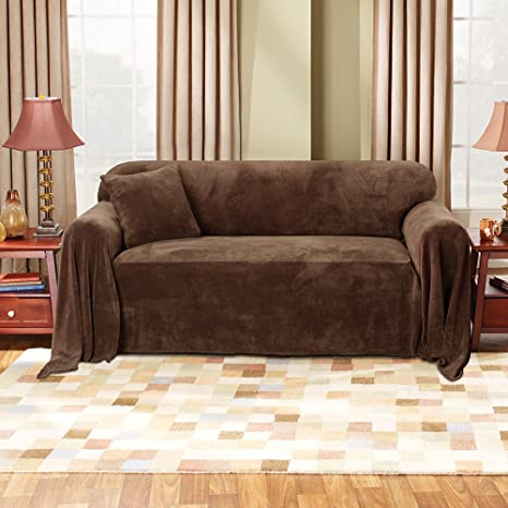Sure Fit Plush Throw Hemmed Throw Slipcover Chocolate Sf37151