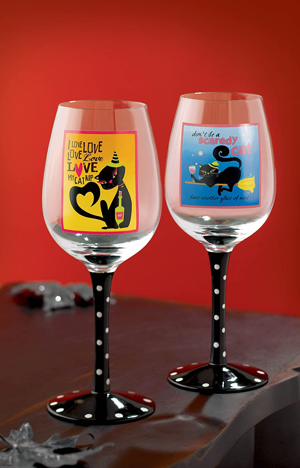 Grasslands Road Pretty Wicked Black Cat Wine Glasses, Two Styles, Set of 4