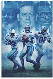 HGFHGF Dallas Cowboys - Emmitt Smith & Troy Aikman & Michael Irvin Star Poster Canvas Art Poster and Wall Art Picture Print Modern Family Bedroom Decor Posters 24x36inch(60x90cm)