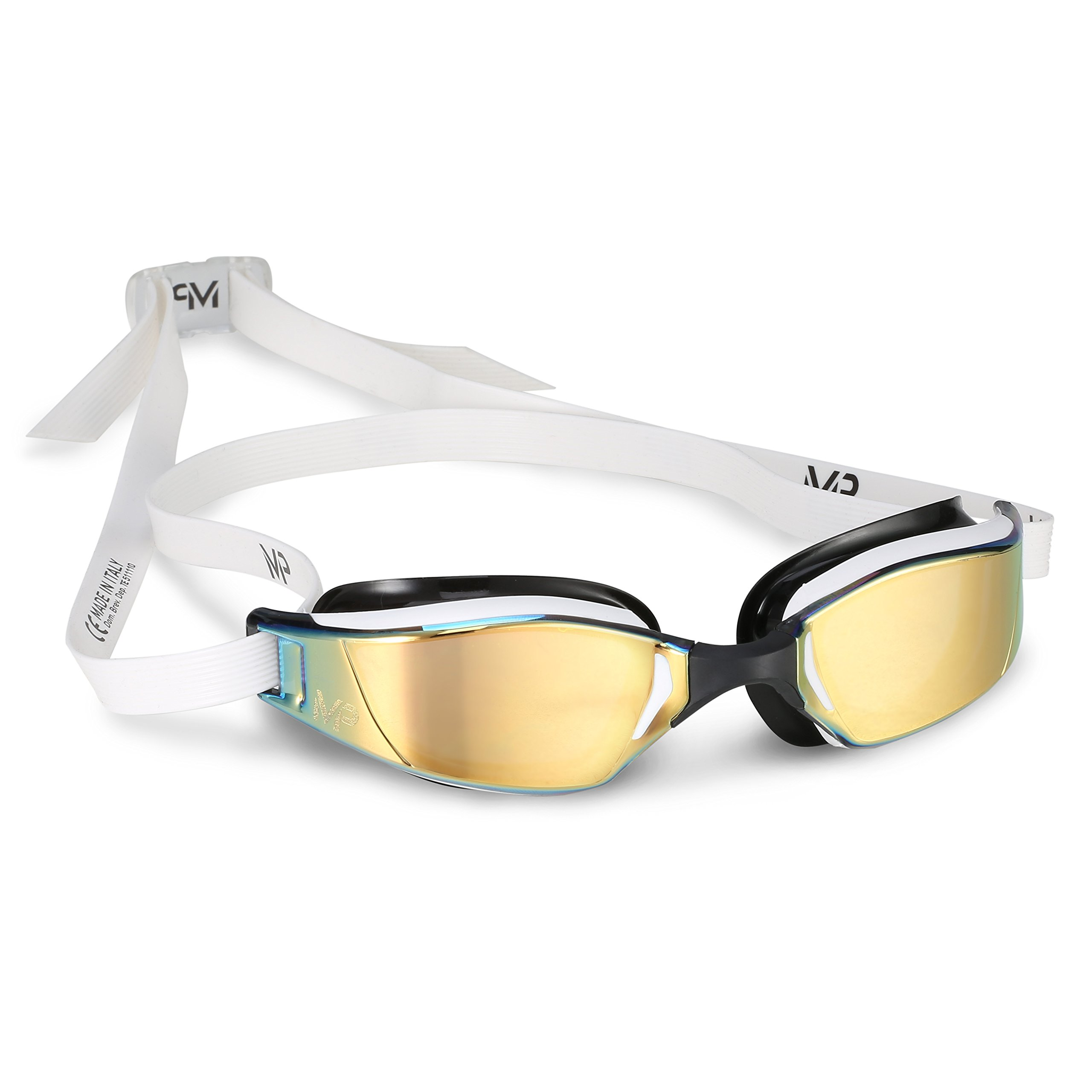 MP Michael Phelps XCEED Swimming Goggles, Mirrored Lens, White/Black Frame