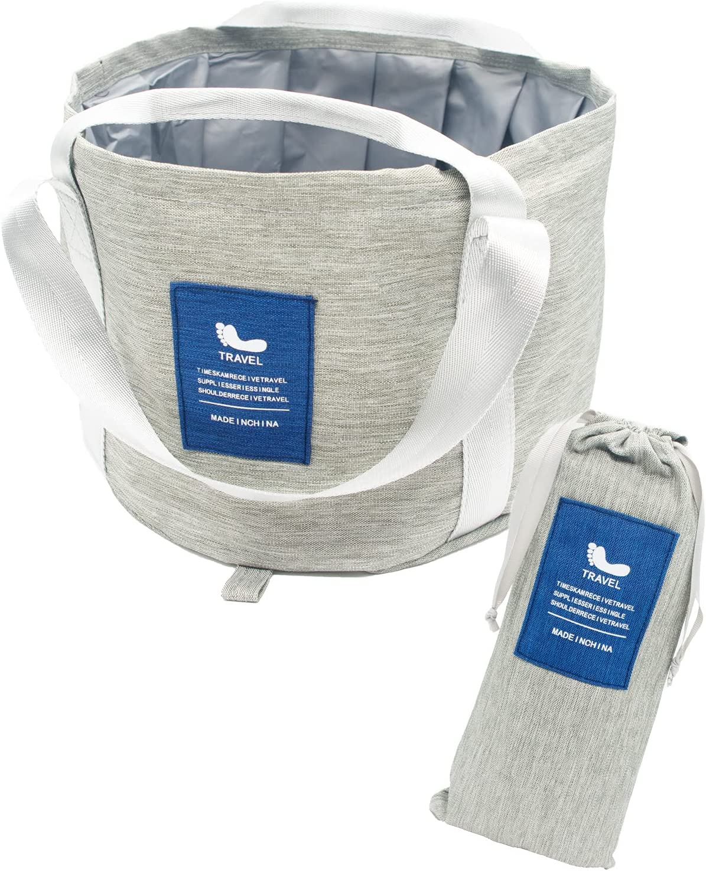 折りたたみバケツ 布バケツ 足湯 桶 13.2L グレー×ネイビー アウトドア キャンプ 大容量 足浴器 軽量 釣り 防災