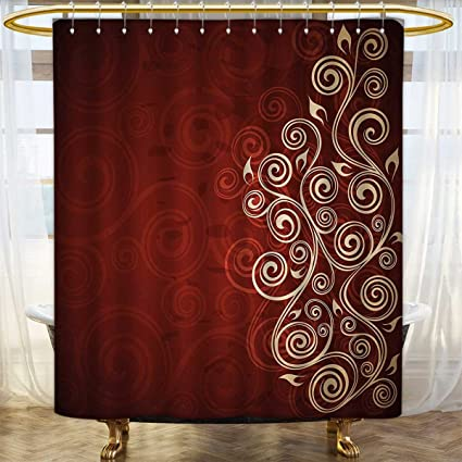 Anhounine Burgundy Shower Curtains Sets Bathroom Floral Flower Swirl Ivy Image With Ombre Details Grunge Backdrop