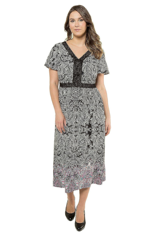 0cee44d0f40 Ulla Popken Women s Plus Size Crochet Trim Dress Multi 18 716292 90-44  Ulla  Popken  Amazon.co.uk  Clothing