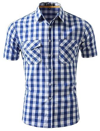 baf430f89c9 uxcell Men Point Collar Chest Pockets Short Sleeves Checkered Shirt S Blue