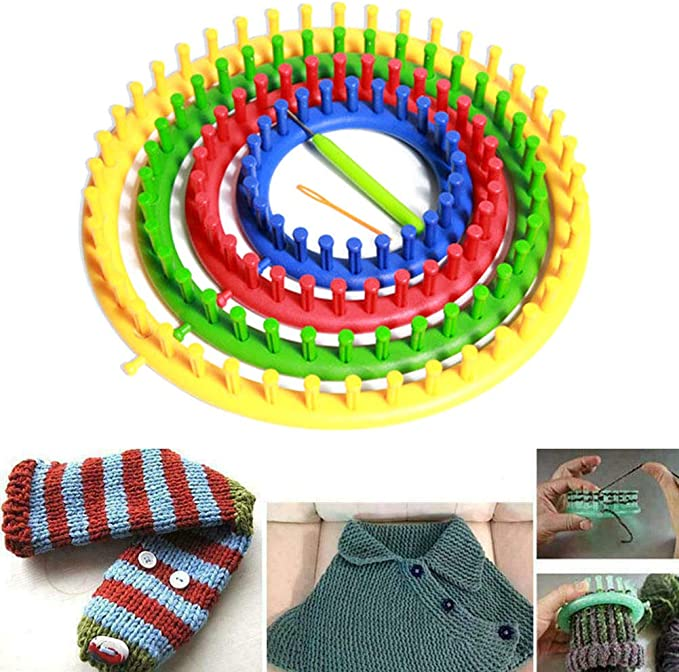 Round Knitting Looms Set,DIY Craft Yarn Kit Tool Set of 5 Plastic Looms Knitting for Hat Scarf Shawl Sweater Sock Blankets Knitter
