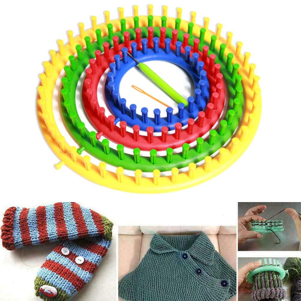 14//19//24 // 29cm con kit de aguja de gancho herramienta artesanal de bricolaje PP Home Round Handcraft Juego de telares de tejer redondos telares de tejer con aguja de sutura de bufanda