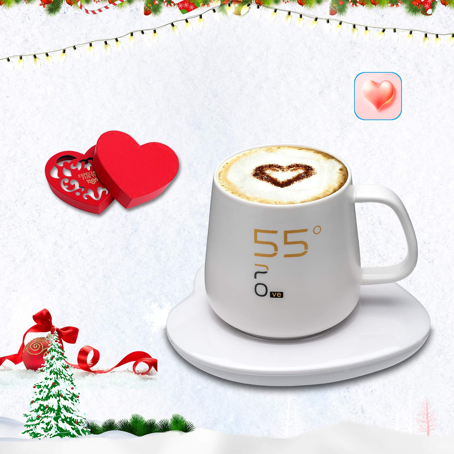 Coffee Cup Mug Warmer, Electric Coffee Cup Beverage Mug Warmer(Milk, Coffee, Drink, Tea)- Lovers'Christmas& Wintter Present OneKing