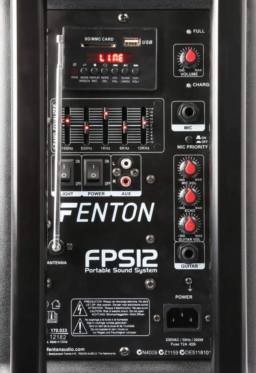 /Syst/ème de sonorisation Portable 30,4/cm Noir Fenton FPS12/