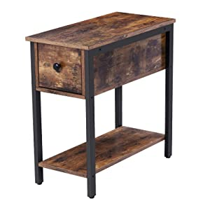 HOOBRO Side Table, 2-Tier Nightstand with Drawer, Narrow End Table for Small Spaces, Stable and Sturdy Construction, Wood Look Accent Furniture with Metal Frame, Rustic Brown