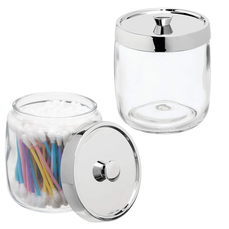 mDesign Juego de 2 algodoneros de cristal – Frasco para guardar discos de algodón, bastoncillos y bolas de algodón con tapa de plástico – Elegante dispensador de algodón – transparente/plateado MetroDecor