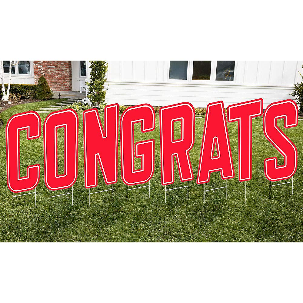 HollyDel Red Congrats Letter Outdoor Sign Kit Graduation Party Supply