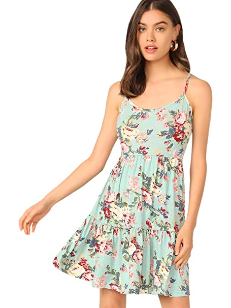 a142be093b SheIn Women's Fit and Flare V Neck Floral Ruffle Spaghetti Strap Slip Cami  Dress Light Green