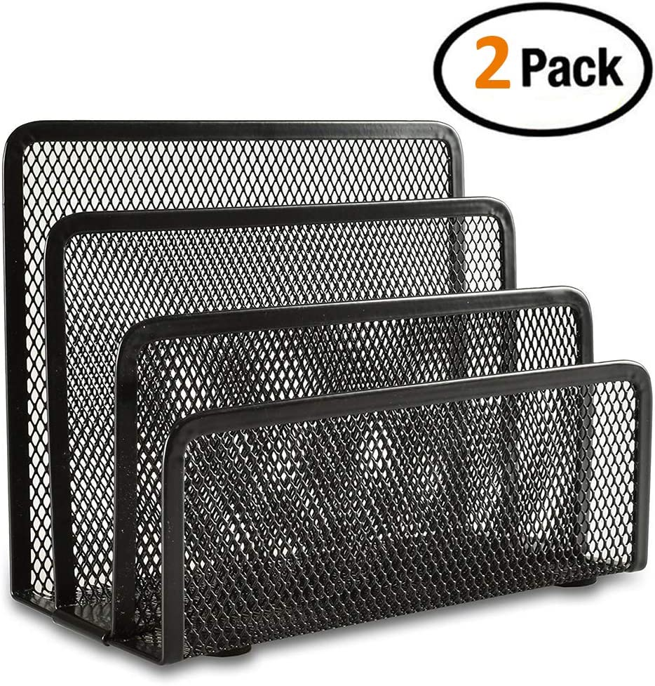 Desk Mail Organizer, Easepres 2 Pack Office Small Letter Sorter Desktop File Organizer Metal Mesh with 3 Vertical Upright Compartments