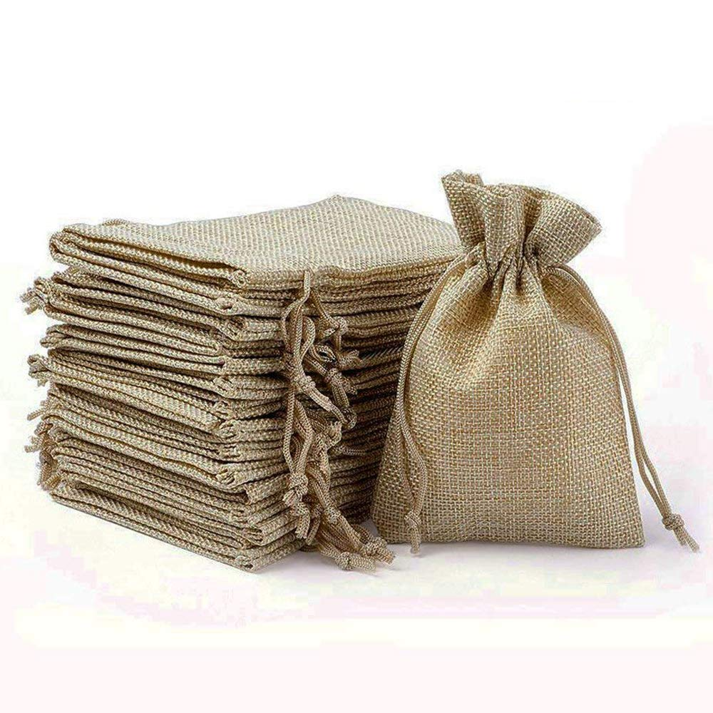 Wuligirl 30PCS Burlap Bags 4X6 Drawstring Cotton Lining Jewelry Pouches Sacks Bag Wedding Favors, Party, DIY Craft(Burlap Brown)