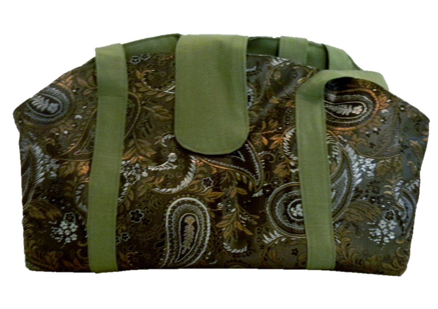 Wuji Brocade Olive Paisley Pet Carrier