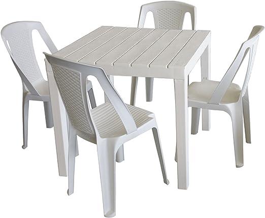 Mobilier de jardin Table de jardin, plastique blanc, 78 x 78 ...