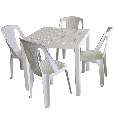 Tavolo Da Giardino Legno Bianco.Set Di Mobili Da Giardino Tavolo Da Giardino Plastica Bianco