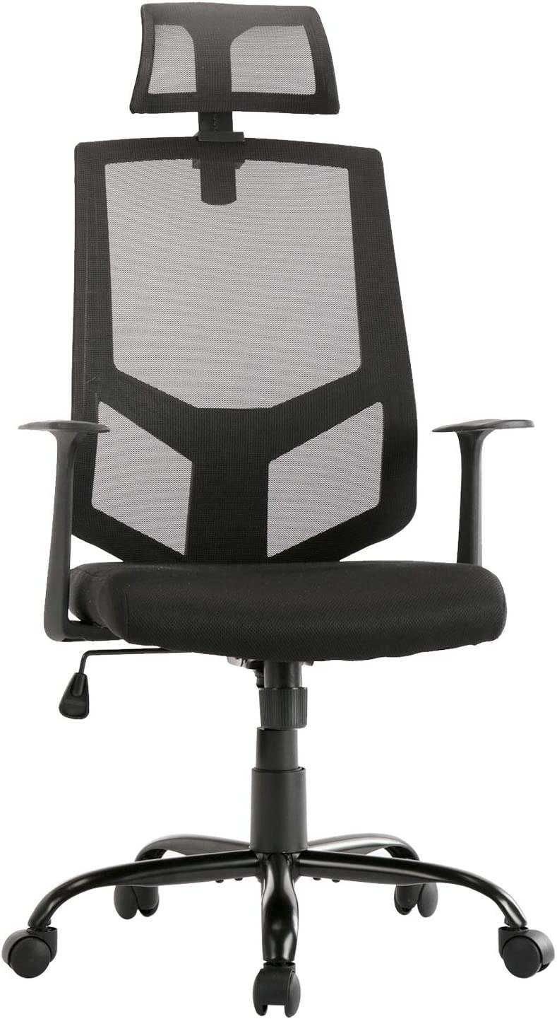 SMUGDESK Ergonomic Lumbar Support Mesh High Back Office Desk Task Chair, Black