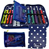 BEST CROCHET HOOK SET WITH ERGONOMIC HANDLES FOR EXTREME COMFORT. Perfect Hooks for Arthritic Hands, Smooth Needles for Superior Results & 22 Knitting Accessories to use with all Patterns & Yarns