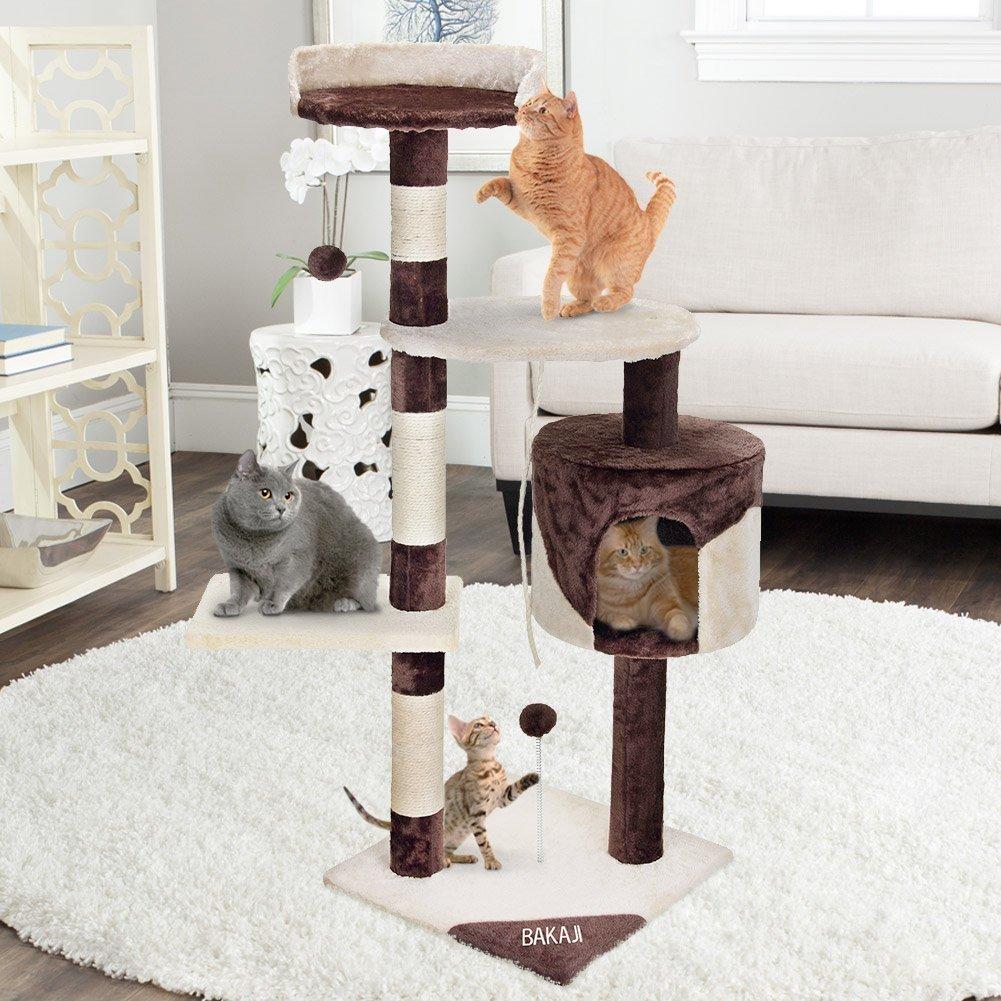Poste rascador de árbol Bakaji para gatos en Sisal y parque de juegos de peluche Gato con rasguños de cama Postes y 3 cubiertas Dimensiones 112 x 67 x 55 cm ...