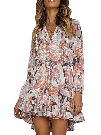 a87381c775851 Miessial Women's V Neck Chiffon Mini Shirt Dress Long Sleeve Ruffle Floral  Print Short Dress