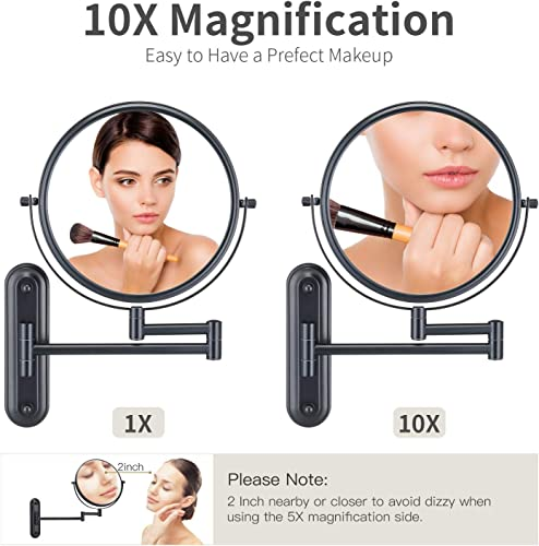 GloRiastar 10X Magnification Wall Mounted Makeup Mirror – Double Sided Magnifying Mirror for Bathroom, 8 inch Extension Polished,Black Mirror