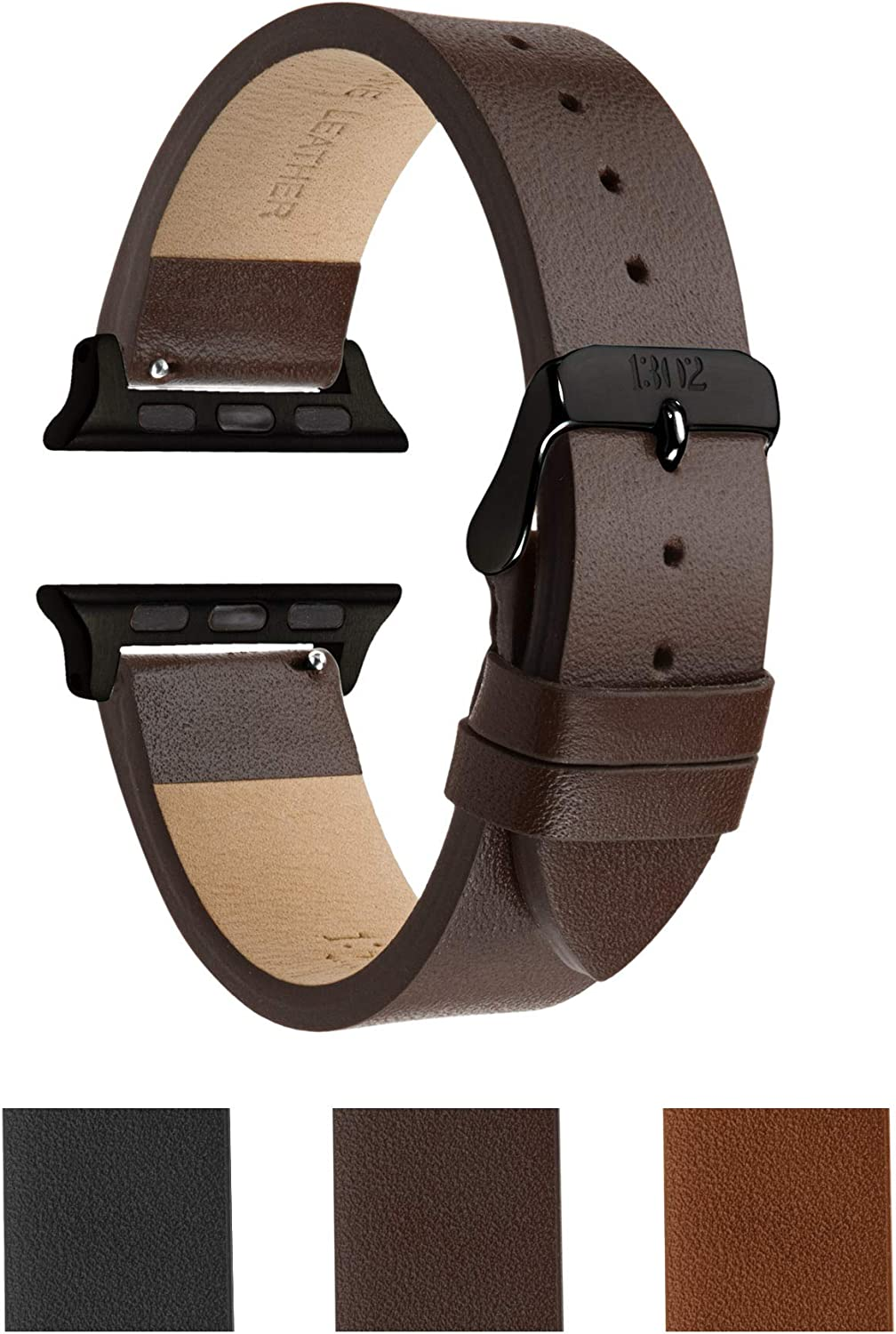 Compatible with Space Grey Apple Watch Band - Apple Watch Band 42mm Brown Leather - Apple Watch Band Tan - Leather Wrap Apple Watch Band - Apple Watch Band 42mm, Fits Apple Watch SE, 6, 5, 4, 3, 2 1