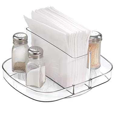 InterDesign Linus Plastic Lazy Susan Napkin and Condiments Turntable Holder for Kitchen Countertops and Dining Tables, Clear