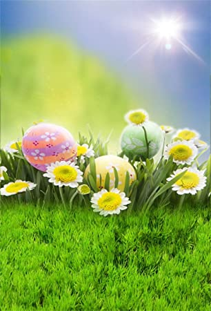 Haoyiyi 10x8ft Easter Backdrops for Photoshoot Easter Background Yellow Flowers Eggs Spring Meadow Grass Photography Photo Girls Baby Shower Shooting Pictures Decorations Photobooth