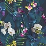 Arthouse Pindorama Papel Tapiz con diseño de Flor Tropical, Color Azul Marino