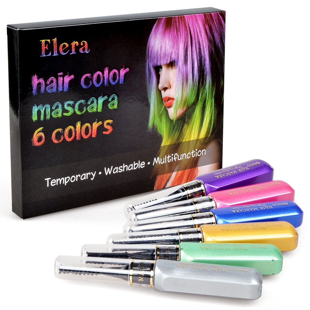 Elera Washable Professional Hair Color Touch Up Temporary Hair Color Mascara for Men Women Multicolor for Children Christmas Gift
