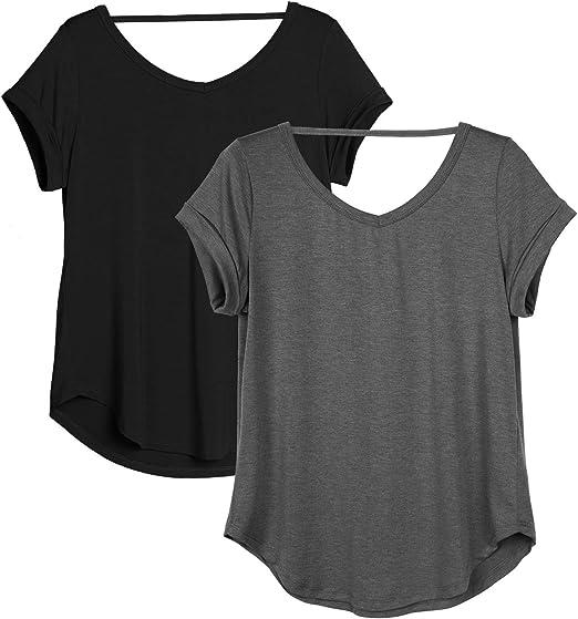 Amazon.com: icyzone - Camisas de yoga para mujer, espalda ...