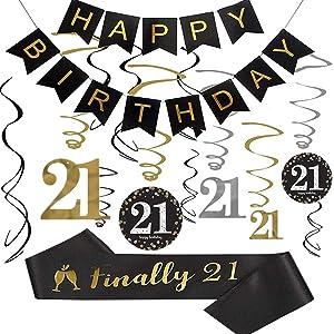 "21st Birthday Party Decorations kit, 21st Birthday Gifts for Her/Him, Happy 21st Birthday Banner, Sparkling Celebration 21 Hanging Swirls,""Finally 21"" Birthday Sash, 21st Birthday Party Supplies"