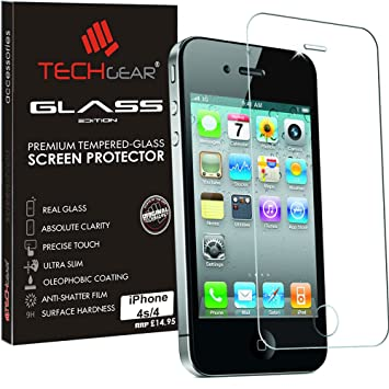 958fa3b9396 TECHGEAR GLASS Edition for iPhone 4s, iPhone 4 - Genuine Tempered Glass  Screen Protector Guard