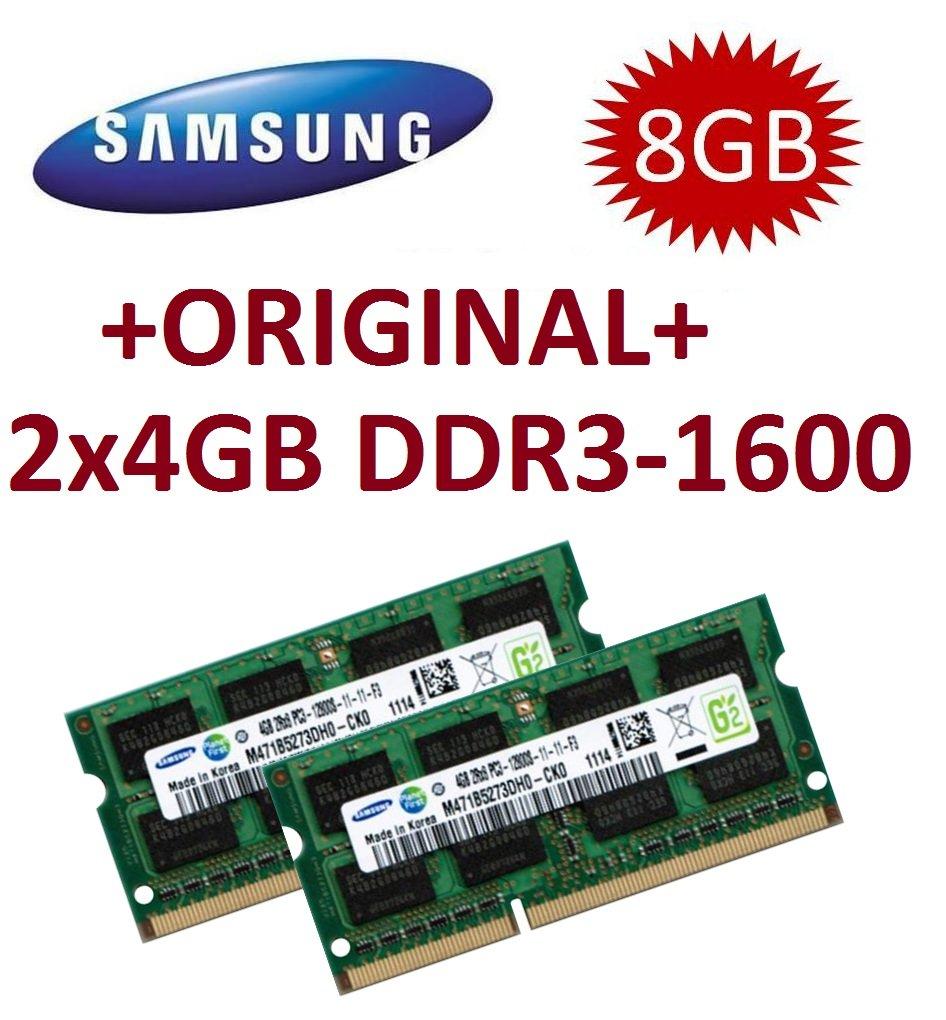 Samsung 8GB Dual Channel Kit 2 x 4 GB 204 pin DDR3-1600 SO-DIMM (1600Mhz, PC3-12800S, CL11) Mihatsch & Diewald 2x8GB_1600_SAMSUNG