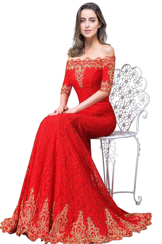 MisShow® Damen Elegant Lang Abendkleid Retro Rot Trägerlos Off ...