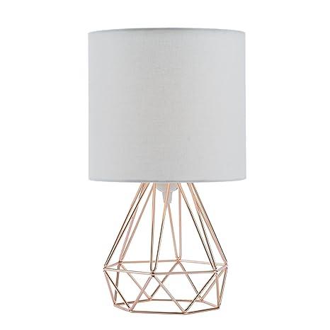 CO-Z Lámpara de Mesilla para Dormitorio Moderno Lámpara de Mesa de Cabecera Diamante de la Vendimia Estilo Jaula con Pantalla de Tela Blanca (Rosa)