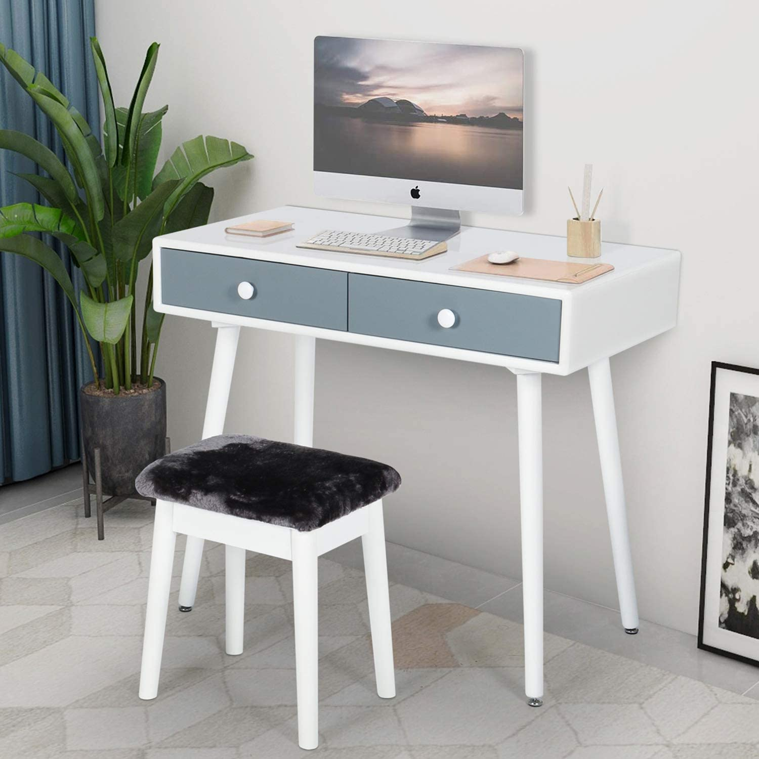 Amazon Com Computer Desk And Chair Set Student Study Reading Writing Desk With Drawers Workstation Home Office Furniture Makeup Vanity Table With Stool For Bedroom White Grey Kitchen Dining