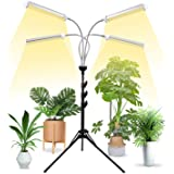 "Grow Lights for Indoor Plants Full Spectrum with 58"" Extendable Tripod Stand,200W Auto On/Off Timing Function Four-Heads Floo"