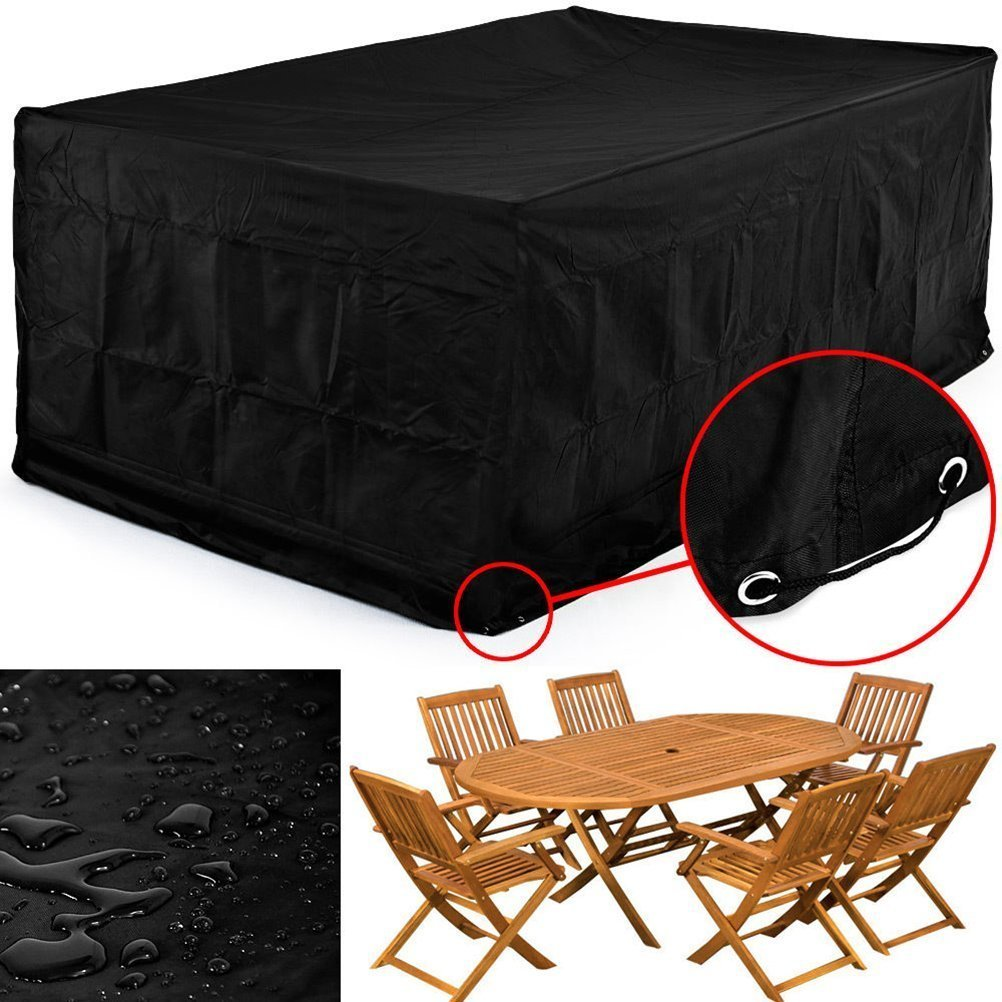 PIXNOR 250*250*90CM Waterproof Chaise Lounge Chair Covers Sofa Cover, Dustproof Furniture Cover (Black) TRTAZ11A